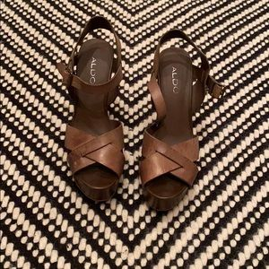 ALDO brown leather wedges